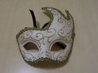 VENICIAN MASQUERADE BALL MASK - GORGEOUS WHITE AND GOLD WITH RIBBON TIE