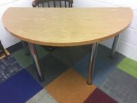 Semi Circular Wooden Meeting Room Table or Office Desk With Chrome Legs