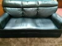 Black leather 2 pc suite