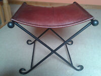 Vintage-style Wrought Iron Leather Folding Stool