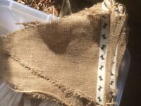 Hessian bunting and assorted ribbons