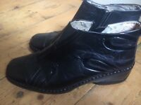 Ladies Leather Cushion-walk Black Ankle Boots - size 7
