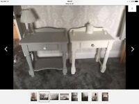 His & hers shabby chic bedside tables grey off white solid pine