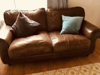 Laura Ashley Southfield Antique Style Brown Leather Sofa