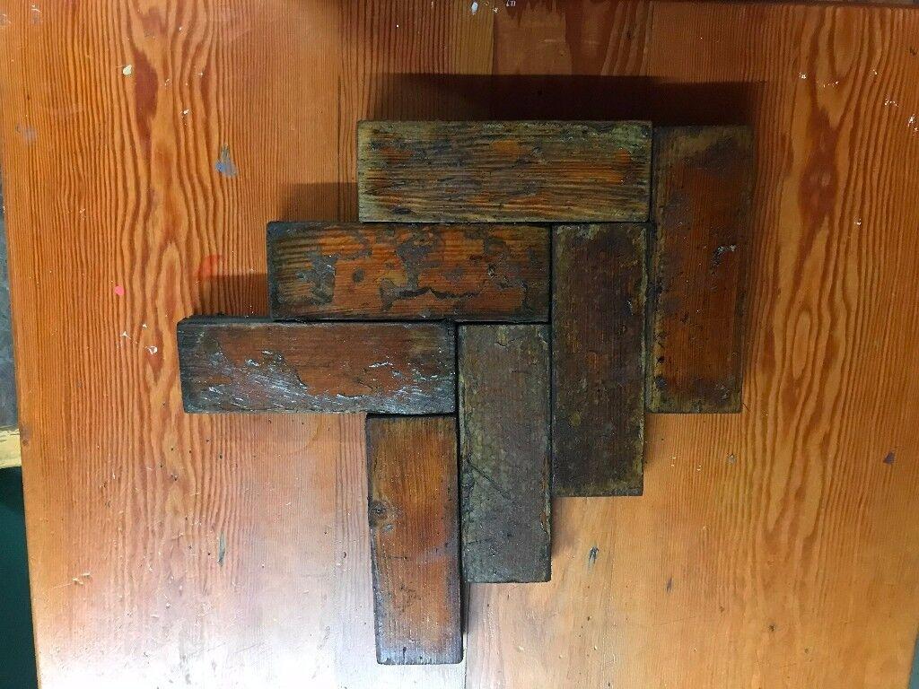 Reclaimed pitch pine herringbone flooring