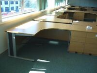 Quality Used Beech Radial Cantilever Workstation & Pedestal - FREE DELIVERY & FREE ASSEMBLING