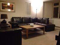 Chocolate Geniune Leather Suite - Corner Sofa Suite & Matching 2 Seat Sofa - Good Condition