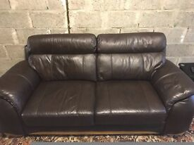 3 seater & 2 seater brown leather sofa
