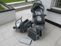 Three wheel pram with car seat and changing bag
