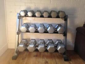 CAST IRON PRO DUMBBELL SET 12kg to 30kg