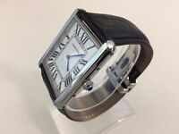 new men's CARTIER TANK LEATHER STRAP watch with deployment clasp