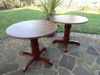 CAFE TABLES X 2---WOOD VENEER TOPS WITH WOODEN BASE ---