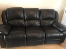 3 and 2 seater real leather recliner sofas