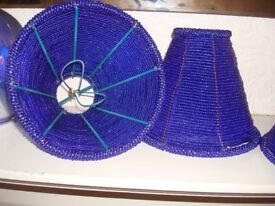 SET OF FOUR BEAUTIFUL BLUE BEADED LAMPSHADES
