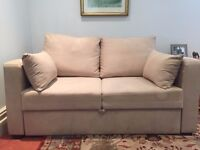 Natural beige colour sofa bed - 2 seater, double bed