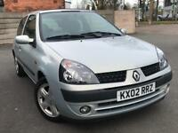 2002 RENAULT CLIO DYNAMIQUE 1.2 * 3 DOOR * PETROL* IDEAL FIRST CAR * SERVICE HISTORY * MOT * P/X