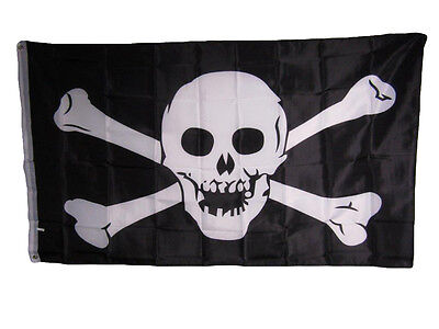 Jolly Roger Pirate Skull and Crossbones No Patch 3x5 Flag Ba