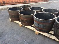 Solid oak half barrel planters