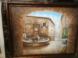 LARGE SIGNED OIL ON CANVAS OF A MEDITERRANEAN SQUARE.