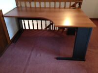 Wood veneer desk and matching drawer unit