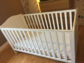 Mothercare cot bed and mattress, white
