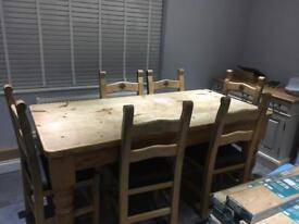 Farmhouse country dining table and 6 chairs