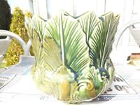 Vintage English Ceramics Pottery Glazed Jardiniere Pot - NEW LEAF