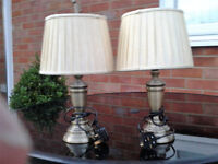 2 Antique Brass Table Lamps
