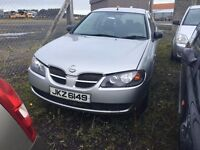 2003 1.5 Petrol Nissan Almera, Breaking for parts only. Postage Nationwide