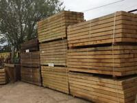 Timber Decking construction Timber posts feather edge sleepers