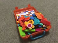 Bristle blocks with figures and animals in carry case excellent condition from smoke free home 2 + y