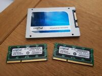 CRUCIAL 16GB DDR3 RAM AND 512GB SSD (Upgrade for Mac or PC)