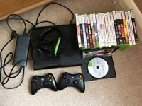 Xbox 360 console with two controllers, turtlebeach headset and 21 Games