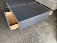 NEW - EX DISPLAY CHARCOAL GREY 4,6FT DOUBLE 135CM BED BASE 70% Off RRP