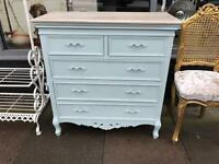 Shabby Chic Ornate Duck Egg Chest Of Drawers