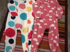 Pair of Next fleece sleepsuits