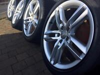 "Audi A4 18"" GENUINE alloy wheels rims and tyres 8X18 ET47"