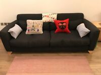 Heal's navy 3 seat Slouch sofa for sale