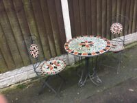 Reclaimed Vintage Mosaic Patio / Bistro Set / Garden Table & Chairs Can Deliver