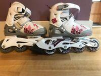 For sale girls Bladerunner adjustable roller skates in size 11 to 1