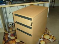 FILING CABINET - fits under desk, 1 file section & 2 drawers, lockable, office quality, VGC