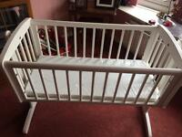 White Mothercare Baby Rocking Cradle