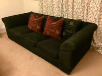 3 seater black sofa with cushions
