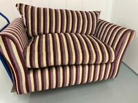 Purple striped 2 seater sofa