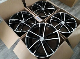 "19"" INCH ALLOYS R19 ALLOY WHEELS BRAND NEW FIT AUDI A3 A4 A5 A6 BLACK ALLOYS ROTOR STYLE A7"