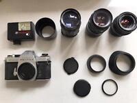 Asahi Pentax SP II with 3 x telescopic lenses