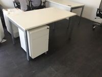 Almost new desk and cabinet with lock