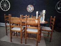 SOLID PINE FARMHOUSE EXTENDABLE DINING TABLE WITH 6 SOLID PINE FARMHOUSE CHAIRS VERY SOLID SET