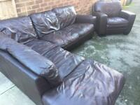 Brown leather corner sofa and matching chair! Free Delivery Available!