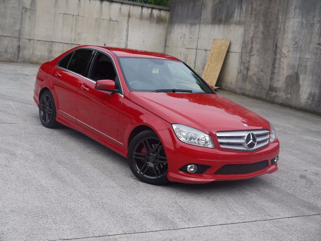 mercedes benz c class c180 kompressor amg sport 1 8 auto 2009 58 rare red colour price reduced. Black Bedroom Furniture Sets. Home Design Ideas